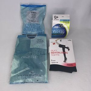 Lot 4 Pairs Pantyhose Sheer Queen XL XXL Vintage